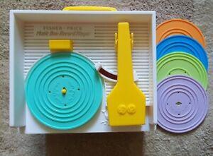 RETRO VINTAGE STYLE 2014 FISHER PRICE RECORD PLAYER MUSIC BOX + 5 DISCS 10 TUNES