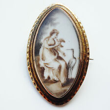 Antique Georgian Gold Sepia Mourning Brooch Miniature of Lady with Stork c1765