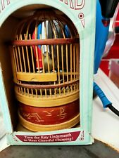 More details for vintage round mechanical singing bird in cage music box tobar