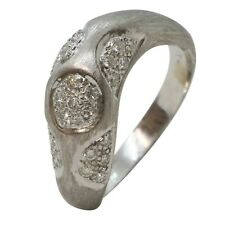 18ct White Gold 0.13ct Solitaire Round Diamond Wave Brushed Finished Ring