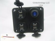 Waterproof Panel 9.2 Amp USB Charger Outlet Socket Power Switch w/ LED Wired 12v