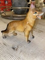 "Vintage Ceramic Dog German Shepherd Figurine Miniature 5.5"" Tall- China"