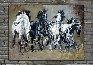 original oil painting, palette knife painting , horses painting