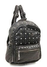 Black DESIGNER WASHED LADY Leather-Like URBAN STUDS CLASSIC Purse BACKPACK