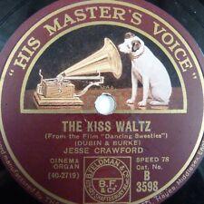 78rpm Jesse Crawford el beso Vals/la luz de la luna me recuerda a usted HMV