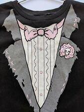 Emily the Strange vintage tuxedo Graphic BLACK pink T-shirt jr. Large