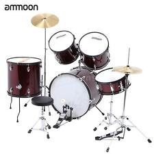ammoon 5-Piece Complete Adult Drum Set Drums Kit W/ Stands Stool Burgundy L7V9