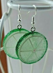 Cute KAWAII Retro Lime Slice Segments Earrings 36mm Fruit Earring Hooks