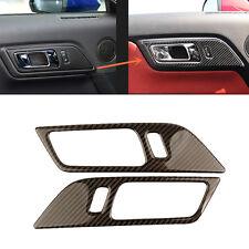 2pcs Carbon fiber Interior door handle Frame trim for Ford Mustang 2015-2017