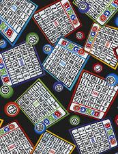 Fabric Bingo Cards and Balls on Black Cotton by the 1/4 yard BIN