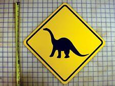 Brontosaurus Dinosaur Crossing Yellow Aluminum Sign