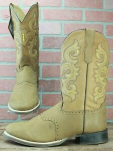 Western Cowboy Boots OLD WEST Tan Brown Round Toe 5705 Size 12 EE