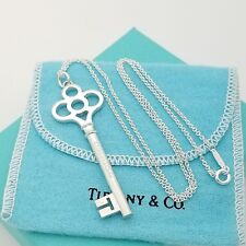 Tiffany & Co. Sterling Silver 2.5' Inch Crown Key Pendant Necklace Pouch & Box