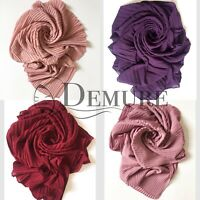Chiffon Pleated Hijab Scarf High Quality Elegant Shawl Wrap Sarong Cape
