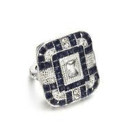 Jewelry 925 Silver Ring Sapphire White Topaz Women Engagement Wedding Size 6-10