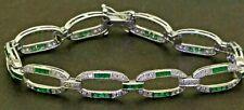 14K white gold elegant 5.33CTW diamond & emerald fancy link bracelet