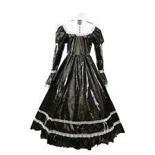 Sissy Girl Maid PVC Black Dress Uniform Cosplay Costume Crossdress