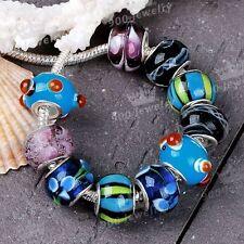 10x Murano Lampwork Glass Multicolor European Bead Fit Charms Chain Bracelet DIY