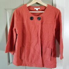 Womens Orange Wool Dress Barn Jacket 3/4Sleeve Size Small