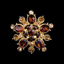 Handmade Brown 3.5cm Swarovski Elements Antique Gold Vintage Crystal Brooch 01F
