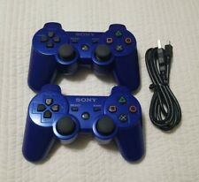 Lot of 2 Genuine OEM Sony Playstation 3 PS3 Sixaxis DualShock 3 Controller BLUE