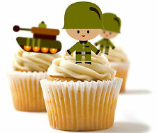 ✿ 24 Edible Rice Paper Cup Cake Toppings, cake dec - Army, soldier, tank ✿