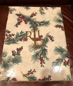 """Ralph Lauren CEDARBERRY Fir Leaves 60 x 104"""" Green, Red & Cream Tablecloth NWT"""
