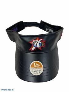 Genuine Leather NBA Philadelphia 76ers VISOR VINTAGE New Era BLACK  ADJUSTABLE