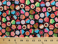 Cupcakes Cakes Desserts Sweets Food Black Cotton Fabric Print by Yard D776.24
