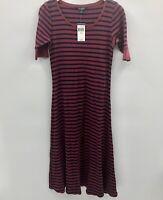 Lauren Ralph Lauren Womens Medium Elbow Sleeve Waffle Knit Maxi Dress Striped