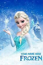 "Disney Elsa Frozen Poster Banner 24"" x 36"" - Customized with your name on it"