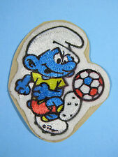 *RARE VINTAGE* SOCCER SMURF PATCH EMBROIDERED PEEL AND STICK IRON-ON EMBLEM