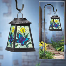 Solar Stained Glass Look Lighted Butterfly Lantern Pathway Garden Light