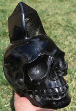 206mm Natural Silver Flash Obsidian Skeleton, Crystal Healing SKULL Point