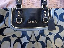 Coach F17446 Blue Ashley Signature Spectator Convertible Carryall Purse tote GUC