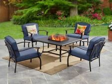 Blue 5 Piece Outdoor Patio Furniture Fire Pit Set Chair Metal Table Deck Garden