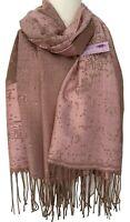Large Scarf Pink Brown Beige Ladies Shawl Large Wrap Oversized Wedding Prom New