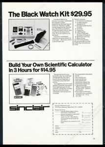 1976 Sinclair Scientific calculator & Black Watch LED kit photo vintage print ad