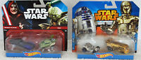 Hot Wheels Star Wars Palpatine Yoda R2D2 C-3PO Cars Set of 2 - 2 Pack NIB 2014