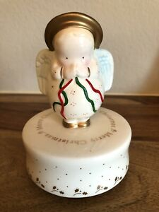 Michel & Co 🎄Ceramic Praying Christmas Holiday Angel Music Box ~ NEW In Box