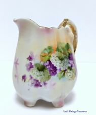 Antique German Porcelain Creamer Pitcher with Hydrangeas and Violets.  BEAUTIFUL
