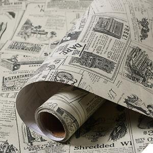 Vintage Newspaper Wallpaper Self Adhesive Vinyl Furniture Wrap Stickers Bedroom