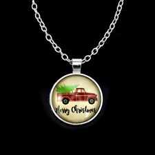 Christmas snowman Car Cabochon Glass Silver Chain Pendant Necklace