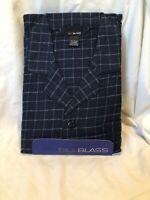 BILL BLASS Cotton Flannel PJs PAJAMAS Set Blue Box Pattern Mens size XL NWT  NEW