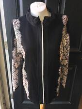 New Chico's Zenergy Cotton Cashmere Black Lace Mix Neema Jacket 3 = XL 16 18 NWT