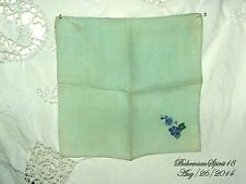 ANTIQUE VINTAGE BLUE HAND EMBROIDERY FLOWER FINE LINENS HANDKERCHIEF COLLECTIBLE
