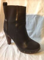 Next Black Ankle Leather Boots Size 6