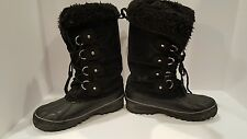 Khombu Womens Black Rubber And Suede Winter Boots Size 7