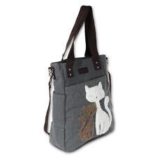 Schultertasche grau Canvas Handtasche Hobo Henkeltasche Katzenmotiv OTK217K