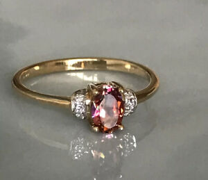 Lovely Vintage Ladies 9ct Gold & Fancy Peach Sapphire Ring, Size N, Gorgeous !!